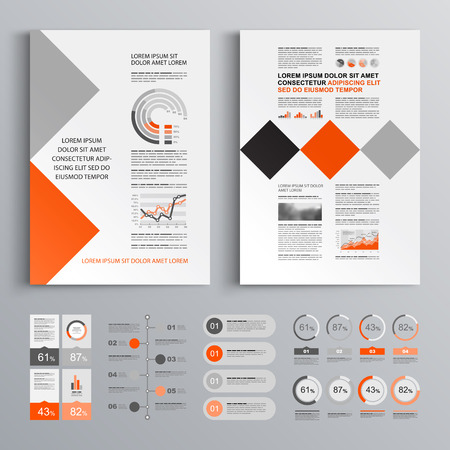 design template: Geometric business brochure template design with red and gray square elements. Cover layout and infographics
