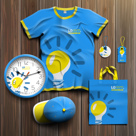 souvenirs: Blue promotional souvenirs design for corporate identity with yellow light bulb. Stationery set