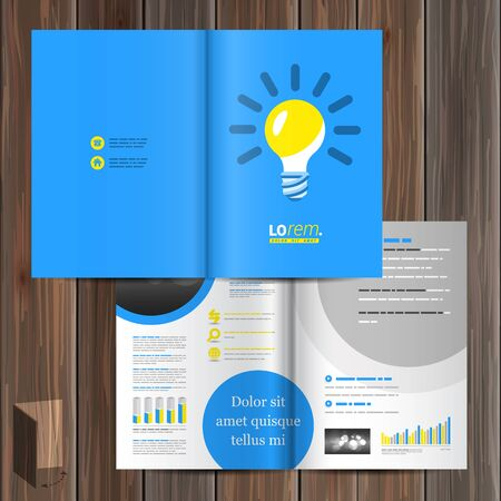 blue bulb: Blue brochure template design with yellow light bulb. Cover layout Illustration