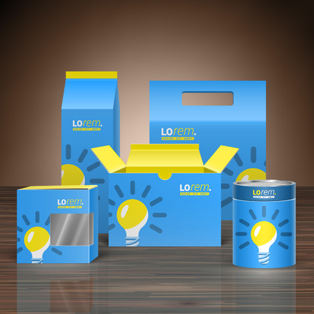 Blue promotional package design for corporate identity with yellow light bulb. Stationery set