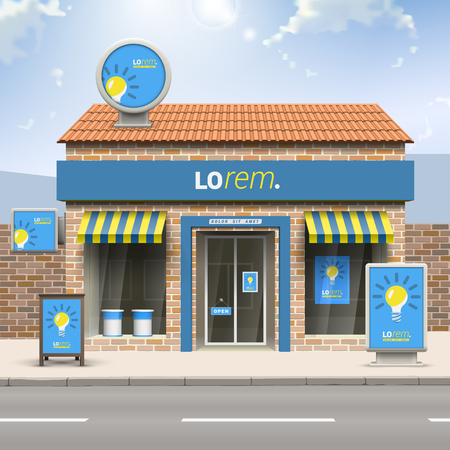 Blauw store design met gele gloeilamp. Elementen van outdoor advertising. Bedrijfsidentiteit