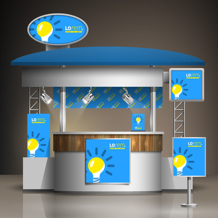 identity: Blue exhibition stand design with yellow light bulb. Booth template. Corporate identity