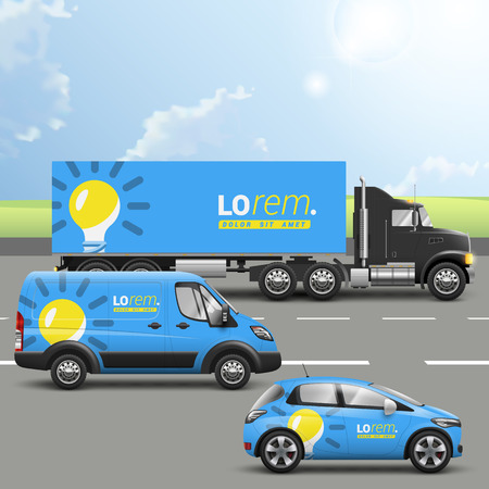 Blue transport advertising design with yellow light bulb. Templates of the truck, bus and passenger car. Corporate identity Illustration