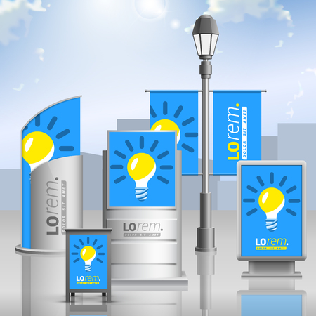 lightbox: Blue outdoor advertising design for corporate identity with yellow light bulb. Stationery set