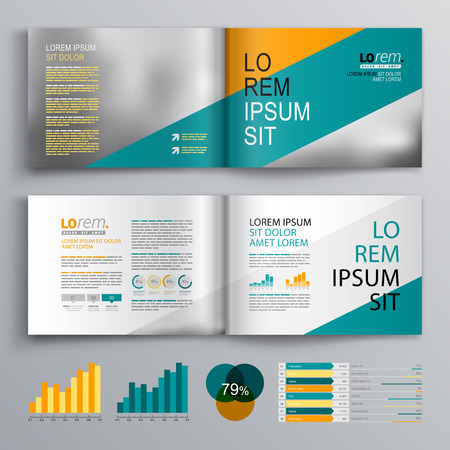 diagonal: Business brochure template design with blue and orange diagonal stripes. Cover layout and infographics