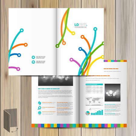 brochure cover design: White creative brochure template design with color art lines in different directions. Cover layout