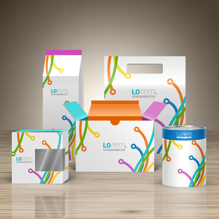 package design: White creative promotional package design for corporate identity with color art lines in different directions. Stationery set