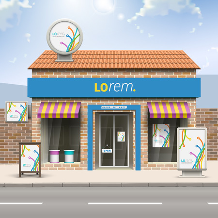 outdoors: White creative store design with color art lines in different directions. Elements of outdoor advertising. Corporate identity