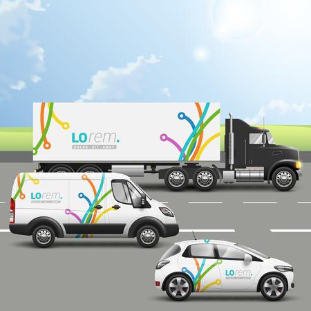 transportation: design creativo bianco sui trasporti pubblicità con linee d'arte di colore in diverse direzioni. I modelli della vettura camion, autobus e passeggero. Corporate identity Vettoriali