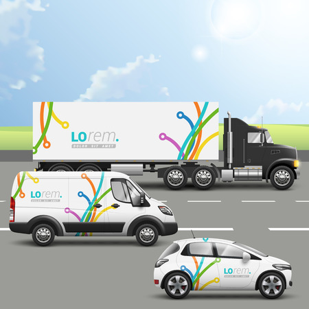 mockup: White creative transport advertising design with color art lines in different directions. Templates of the truck, bus and passenger car. Corporate identity