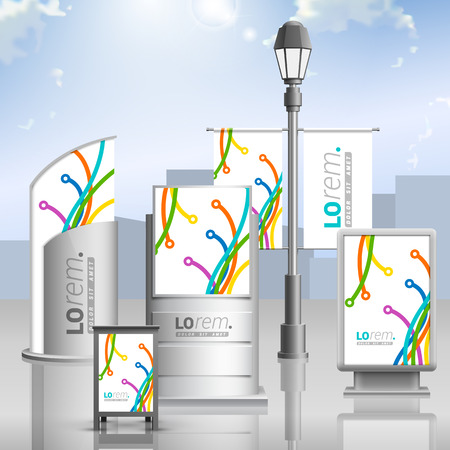 different directions: White creative outdoor advertising design for corporate identity with color art lines in different directions. Stationery set