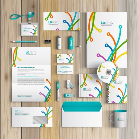 corporate identity template: White creative corporate identity template design with color art lines in different directions. Business stationery