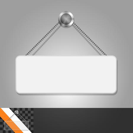 letrero: Plantilla para la publicidad e identidad corporativa. Señal con espacio para el texto. maqueta en blanco para el diseño. Vector objeto blanco Vectores