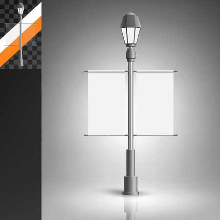 stationary: Template for advertising and corporate identity. Double vertical citylight with a lantern on the pillar. Blank mockup for design. Vector white object Illustration