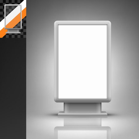 mockup: Template for advertising and corporate identity. Vertical citylight. Blank mockup for design. Vector white object Illustration