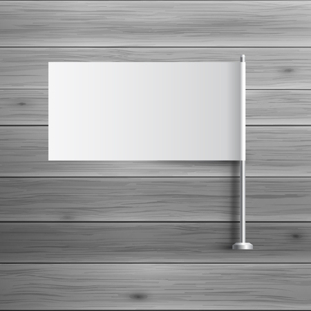 flagstaff: Template for advertising and corporate identity. Small flag on flagstaff. Blank mockup for design. Vector white object