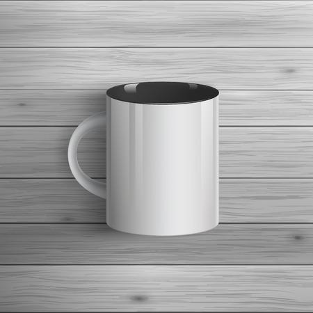 광고 및 기업의 정체성에 대 한 템플릿입니다. 클래식 컵. 디자인에 대 한 빈 모형. 벡터 흰색 물체 일러스트