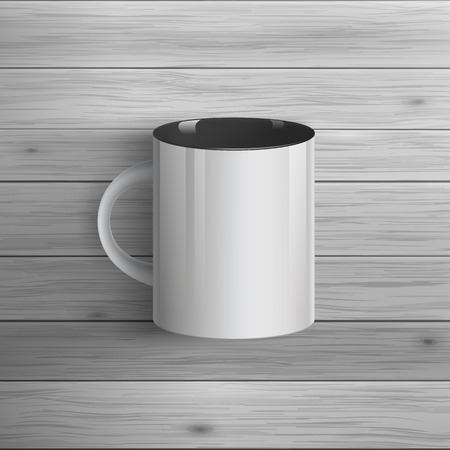 mockup: Template for advertising and corporate identity. Classic cup. Blank mockup for design. Vector white object