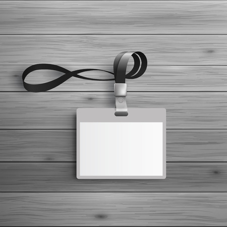 광고 및 기업의 정체성에 대 한 템플릿입니다. 끈 플라스틱 ID 배지입니다. 디자인에 대 한 빈 모형. 벡터 흰색 물체
