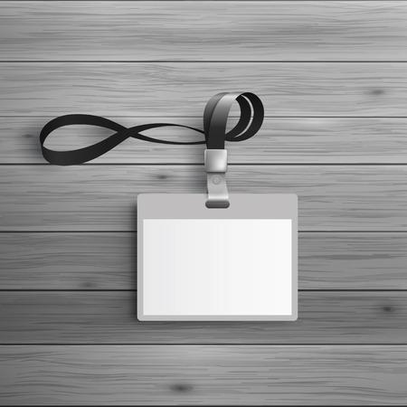 insignias: Plantilla para la publicidad e identidad corporativa. tarjeta de identificación de plástico con cuerda de seguridad. maqueta en blanco para el diseño. Vector objeto blanco Vectores