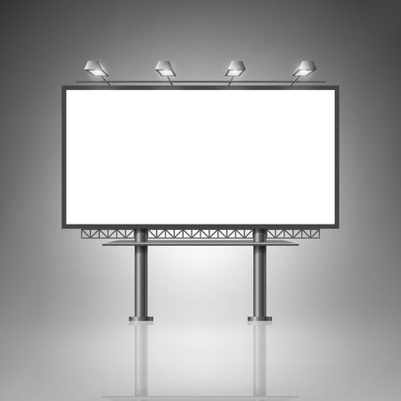 Template for advertising and corporate identity. Outdoor billboard with lighting. Blank mockup for design. Vector white object Illustration