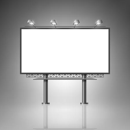 Plantilla para la publicidad e identidad corporativa. Cartelera al aire libre con la iluminación. Maqueta en blanco para el diseño. Vector blanco objeto