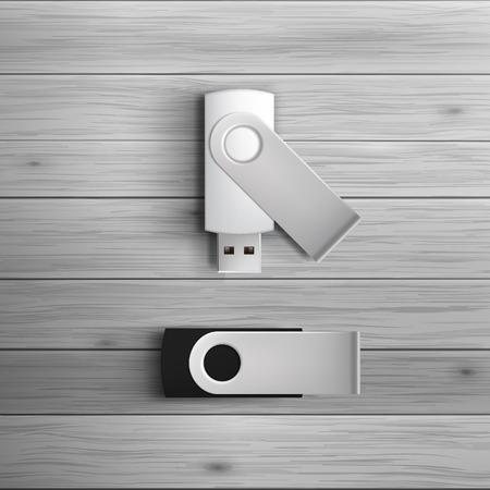 広告や企業のアイデンティティのためのテンプレートです。USB フラッシュ ドライブ。空白のモックアップ デザイン。白いベクトル オブジェクト