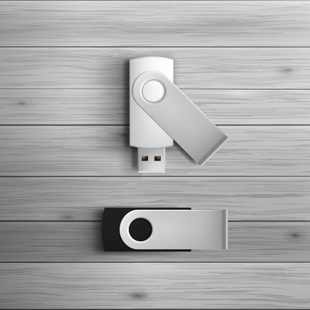Template for advertising and corporate identity. USB flash drives. Blank mockup for design. Vector white object Vettoriali