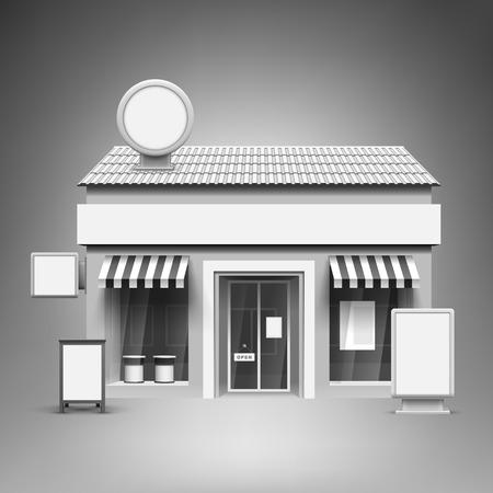 punto vendita: Modello per la pubblicità e la corporate identity. Negozio. mockup in bianco per il design. Vector bianco oggetto