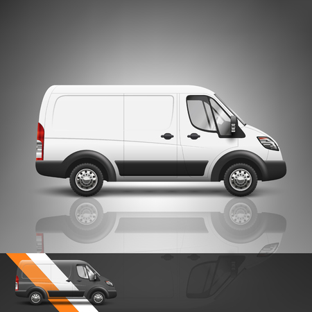 commercial van: Template for advertising and corporate identity. Transport. Bus. Blank mockup for design. Vector white object