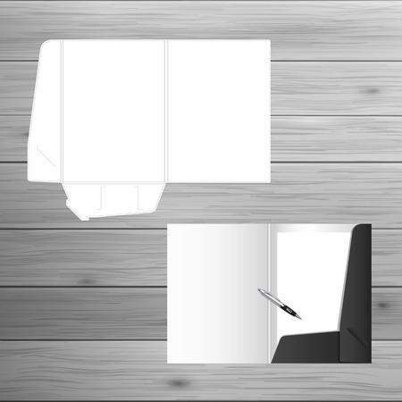 carpeta: Plantilla para la publicidad e identidad corporativa. Carpeta abierta. maqueta en blanco para el diseño. Vector objeto blanco