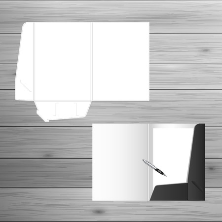 dossier: Template for advertising and corporate identity. Open folder. Blank mockup for design. Vector white object Illustration