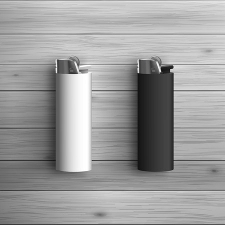 mockup: Template for advertising and corporate identity. White and black lighters. Blank mockup for design. Vector white object