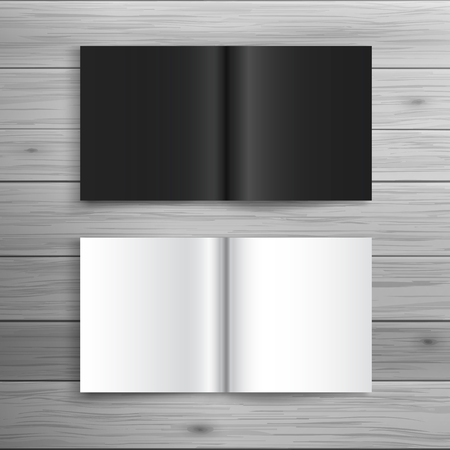 square shape: Template for advertising and corporate identity. Folded brochure in square format. Blank mockup for design. Vector white object