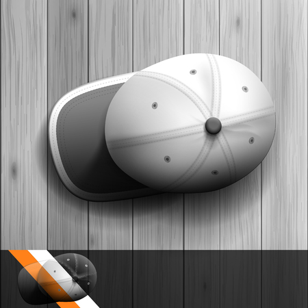Template for advertising and corporate identity. Baseball cap. Blank mockup for design. Vector white object Illustration
