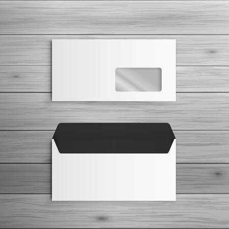 광고 및 기업의 정체성에 대 한 템플릿입니다. 창 봉투입니다. 디자인에 대 한 빈 모형. 벡터 흰색 물체