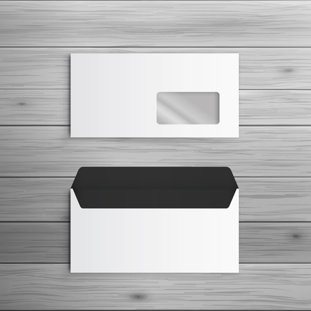 letter envelope: Template for advertising and corporate identity. Envelope with window. Blank mockup for design. Vector white object