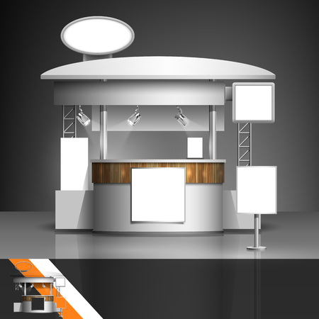 mockup: Template for advertising and corporate identity. Exhibition stand. Blank mockup for design. Vector white object