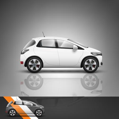 広告や企業のアイデンティティのためのテンプレートです。トランスポート。乗用車。空白のモックアップ デザイン。白いベクトル オブジェクト