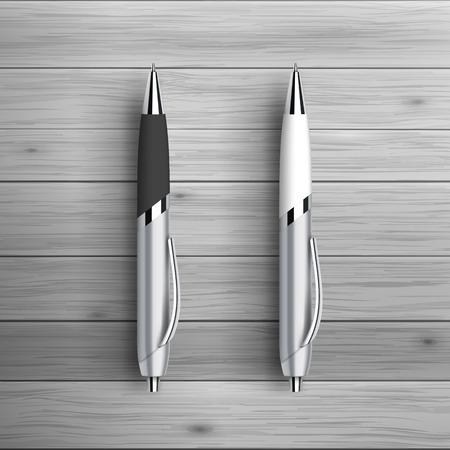 広告や企業のアイデンティティのためのテンプレートです。2 つのボールのペン。空白のモックアップ デザイン。白いベクトル オブジェクト