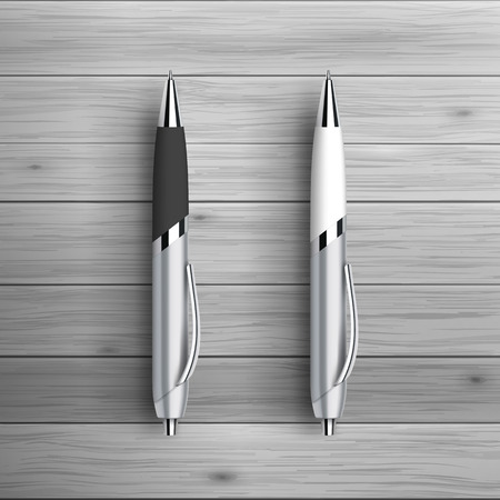 mockup: Template for advertising and corporate identity. Two ball pens. Blank mockup for design. Vector white object Illustration