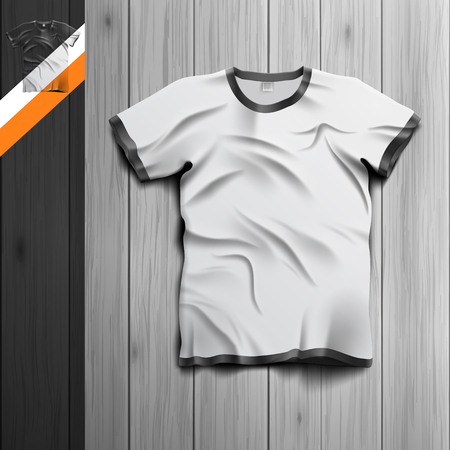 apparel: Template for advertising and corporate identity. Mens t-shirt. Blank mockup for design. Vector white object Illustration
