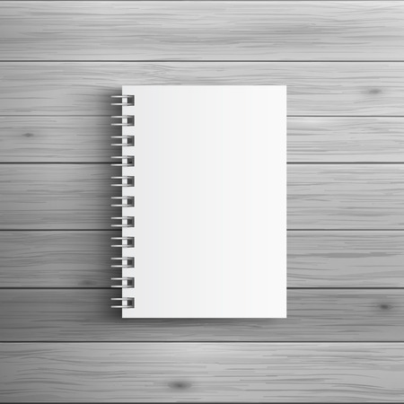 mockup: Template for advertising and corporate identity. Realistic spiral notepad. Blank mockup for design. Vector white object