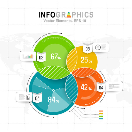 White infographics set with blue, green and orange elements. Vector information graphics Illustration