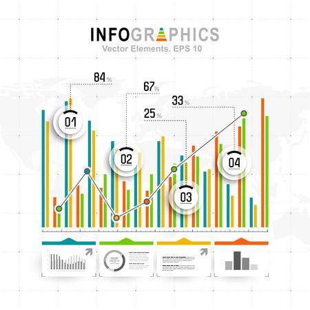 grafica de barras: infografía Blanco conjunto con elementos de color azul, verde y naranja. Vector de información gráfica