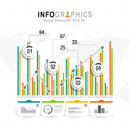 economics: White infographics set with blue, green and orange elements. Vector information graphics Illustration