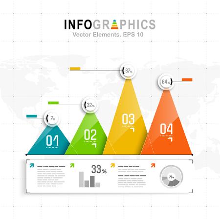 Witte infographics met blauwe, groene en oranje elementen. Vector informatiegrafiek