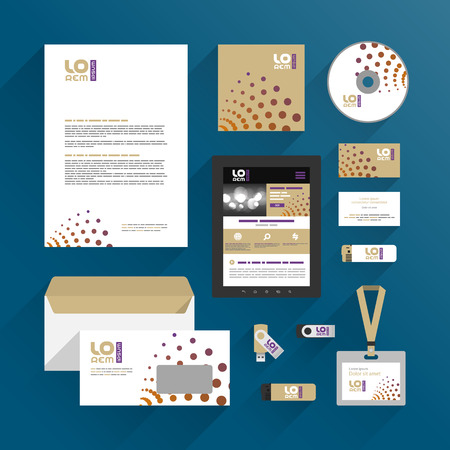 Modern corporate identity template design with round elements. Business stationery
