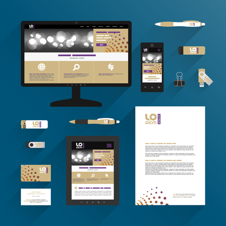 Modern application template design for corporate identity with round elements. Stationery set
