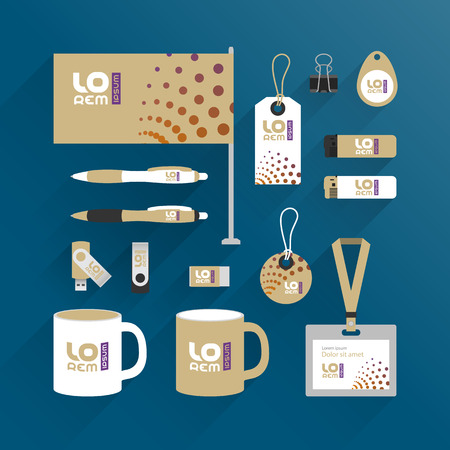 Modern promotional souvenirs design for corporate identity with round elements. Stationery set